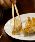 Eating japanese food. Japanese gyozas in a Japanese restaurant in Paris. Girl is eating with sticks stock photo