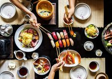 Eating japanese food healthy lifestyle royalty free stock photography