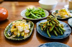 Eating Japanese food at the restaurant Royalty Free Stock Images