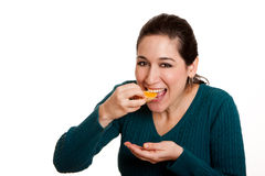 Eating juicy mandarin orange slice Stock Photography