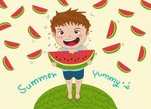 eating juicy watermelon 库存例证