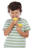 Eating a lemon Stock Photo