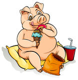 Eating like a pig idiom. Fat pig eating lots of food Stock Images