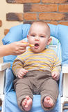 Eating little boy is looking very angry Stock Photography
