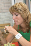 Eating lunch royalty free stock photography