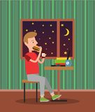Eating Man in Pretty Flat Vector Illustration. Eating tasty burger man in pretty flat, vector illustration, window with stars and moon brown furniture black Royalty Free Stock Photos