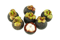 Eating mangosteen isolated Stock Photos