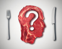 Eating meat questions concept or diet nutrition decisions