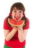 Eating melon Royalty Free Stock Image