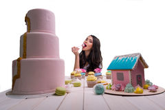 Eating model with great choice Royalty Free Stock Images