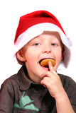 Eating My Christmas Cookie Stock Images