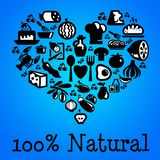 Eating natural organic food. Eating 100% natural and organic food Royalty Free Illustration