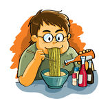 Eating Noodles royalty free illustration