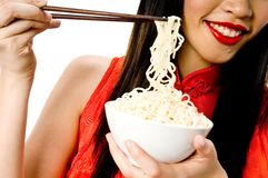 Eating noodles Royalty Free Stock Photography