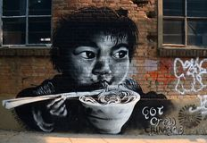 Eating Noodles Graffiti Royalty Free Stock Images