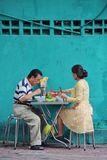 Eating noodles. People eating lunch in Ho Chi Mihn City, Vietnam Stock Image