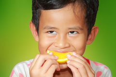 Eating Orange Fruit Royalty Free Stock Photo