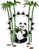 Eating Panda with a bamboo branch. Vector illustration. royalty free illustration