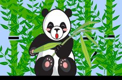 Eating Panda Between Bamboo Plants. This is a vector illustration. The illustration shows a young black and white panda. The panda is eating bamboo. In the Royalty Free Stock Photography