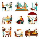 Eating People Icons Set Stock Photo