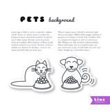 Eating pets background. Happy smiling friends cat and dog sit near a full bowls. Vector line sticker on white background. Page template for your design with Stock Photos