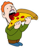 Eating Pizza. An image of a man eating a slice of pizza Royalty Free Stock Photo