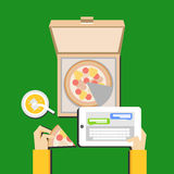 Eating pizza and chatting illustration concept. Flat design. Royalty Free Stock Photos