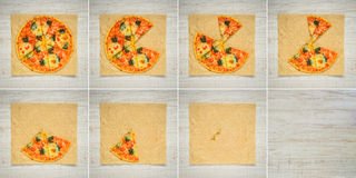 Eating Pizza 8 Frame Collage Series. Collage Series of 8 Frames with Sliced Pizza on Paper Royalty Free Stock Photos