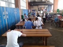 Eating place, outside the mall. Eating place, people are dining, outside the mall. In shenzhen, China Stock Images