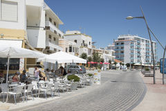 Eating places along an Algarve street Portugal Royalty Free Stock Photography