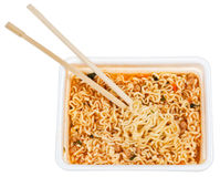 Eating of prepared instant noodles Royalty Free Stock Images
