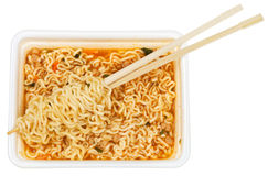 Eating of prepared instant ramen Stock Photography