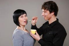 Eating pudding Stock Photo