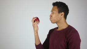 Eating Red Fresh Apple, Chewing Hungry Young Man