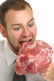 Eating Red Meat Royalty Free Stock Images