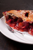 Eating rhubarb and strawberry tart Royalty Free Stock Photos