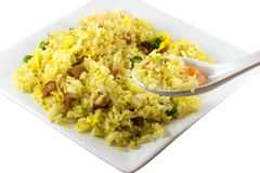 Eating Rice. Eating fried rice using a spoon isolated in solid white background royalty free stock photos