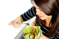 Eating salad Royalty Free Stock Images