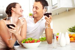 Eating salad Royalty Free Stock Image