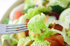 Eating salad with fork Royalty Free Stock Images