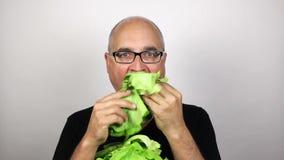 Eating salad stock video