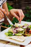 Eating salad Royalty Free Stock Photography