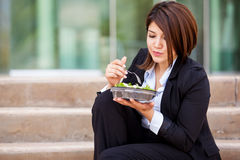 Eating a salad at work Royalty Free Stock Photography