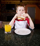 Eating a Sandwhich. A young child eats a sandwich stock photo
