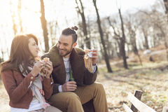 Eating sandwiches Royalty Free Stock Images