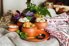 Eating several types of ravioli clay pot in the national life. Eating several types of ravioli in a clay pot in the national life with sour cream and herbs royalty free stock photography