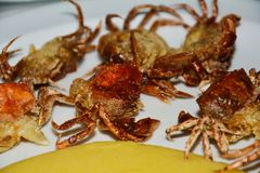 Eating shell crabs and cornmeal mush, background Royalty Free Stock Photography