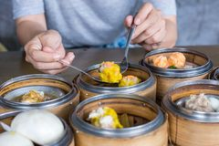 Eating Shrimp dumpling of Dim sum. Dim sum in bamboo basket steamer, chinese cuisine. Close up Eating shrimp dumpling and varieties dim sum stock image