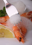 Eating shrimp and lemon mousse Stock Images