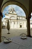 Eating in Sibenik. Table of a restaurant opposite the cathedral of Sibenik, Croatia Stock Images
